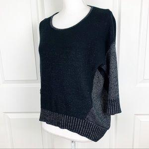 Love Stitch Black Silver Knit Pullover Sweater